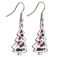 boucles d'oreilles - SODIAL(R) Crochets Boucles d'oreilles Pendentif de Sapin de Noel Cadeau de Noel