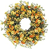 "Cat's collection 18"" Autumn Berry and Eucalyptus Leaf Wreath Decorative Faux Artificial Yellow Flower Harvest Front Door Decor Wreath"