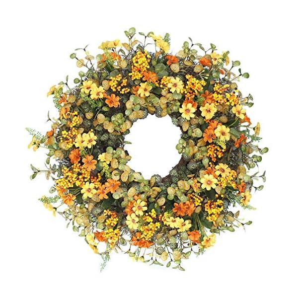 Cat's collection 18″ Autumn Berry and Eucalyptus Leaf Wreath Decorative Faux Artificial Yellow Flower Harvest Front Door Decor Wreath