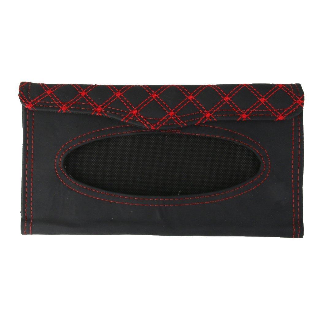YTYC Auto Car Sun Visor Tissue Box Paper Napkin Clip Bag (Black+ Red)