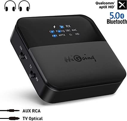 Amazon Com Higoing Bluetooth 5 0 Transmitter Receiver 2019 Upgraded 2 In 1 Wireless Audio Adapter With Indicator Screen Digital Optical Toslink 3 5mm Aux Rca Low Latency Hd Ll For Tv Home Car Stereo Home Audio Theater