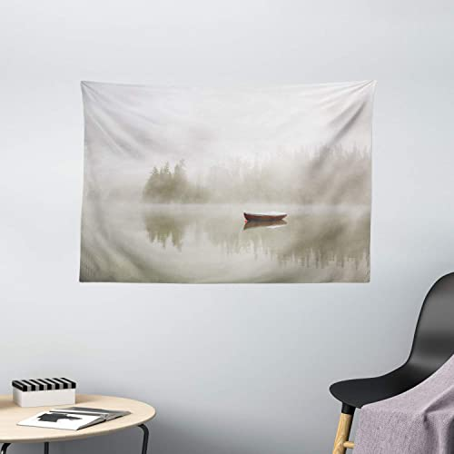 Ambesonne Landscape Tapestry, Boat on The Lake with Silhouettes of Trees on The Water Sky Nature Art, Wide Wall Hanging for Bedroom Living Room Dorm, 60 X 40 , Eggshell Brown