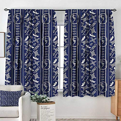 """Anzhutwelve Nautical,Backout Drapes Seahorse Sailboat Travel 52""""x72"""" Backout Curtains for Baby Bedroom"""