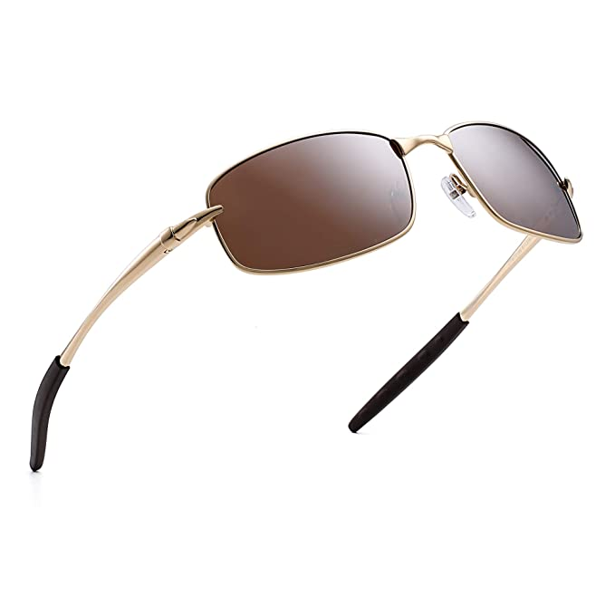 Jim Halo Polarizadas Conducir Gafas de Sol Rectangular Curva Wrap Metal Bisagras de Resorte Hombre