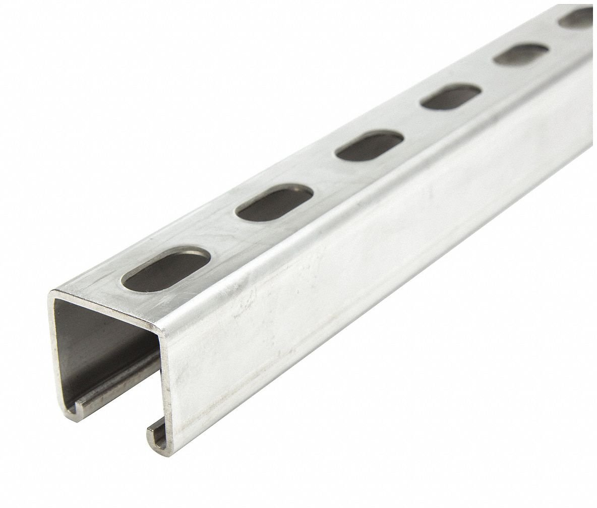 Slotted Standard 1-5/8'' x 1-5/8'' Strut Channel, 304 Stainless Steel, 12 ga, 10 ft. by Unknown