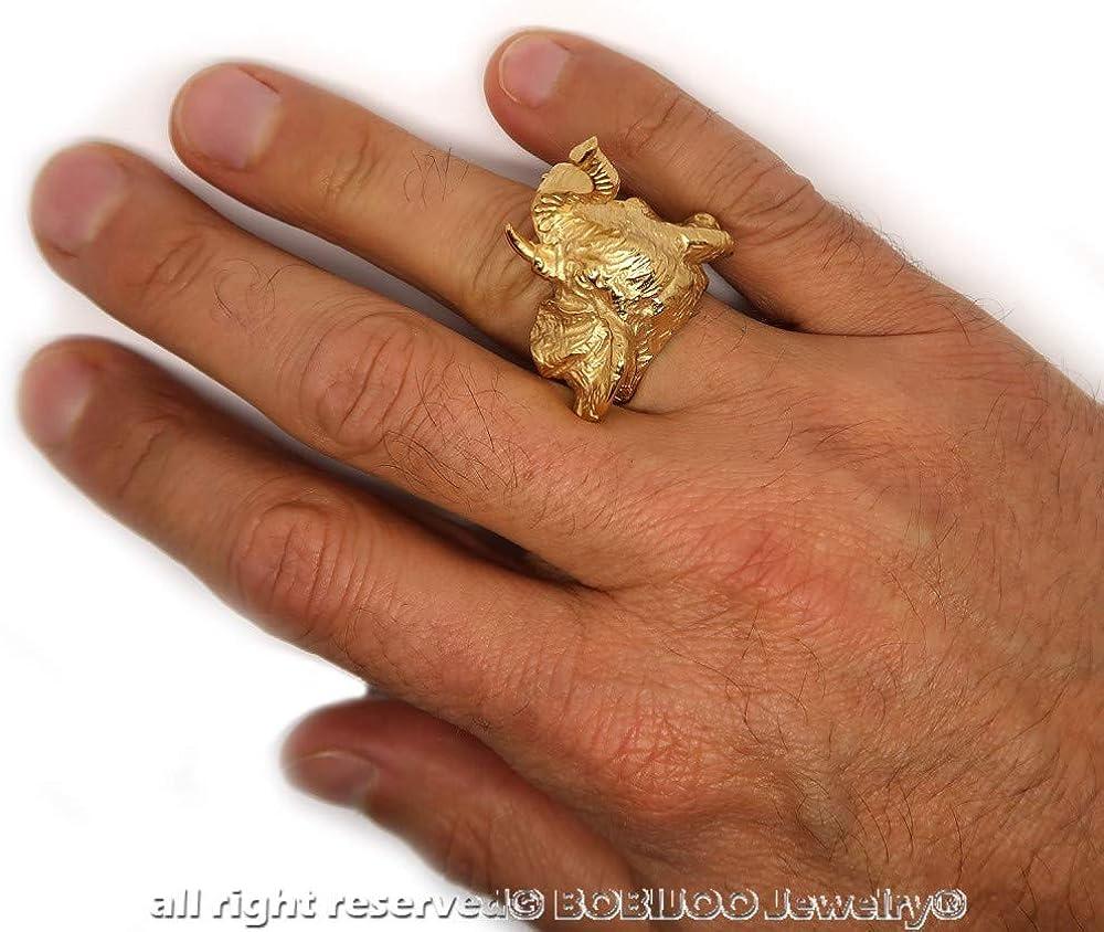 Imponente Anillo Anillo Anillo de la Cabeza de Elefante de Acero Inoxidable Dor/é de Oro Chapado de Hombre BOBIJOO JEWELRY