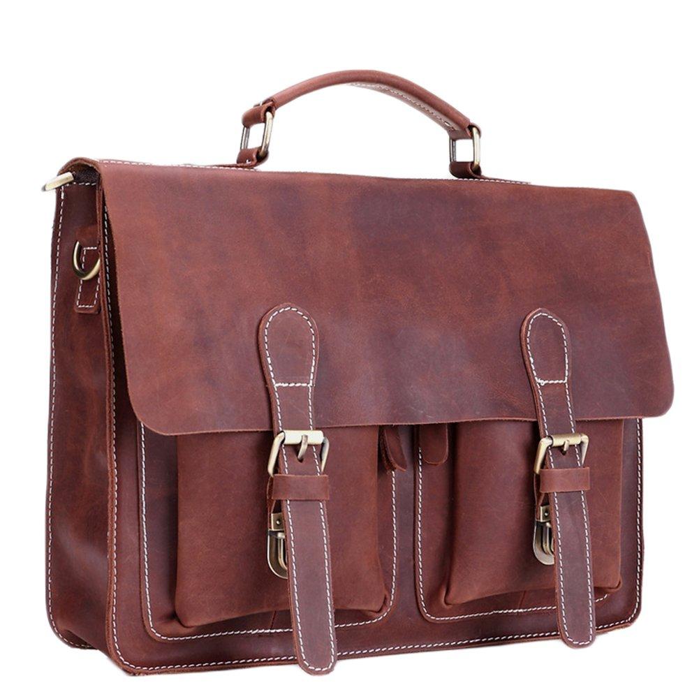 BININBOX Men's Leather Flapover Case Vintage Message Bag Handabg Travel Shuolder Bag