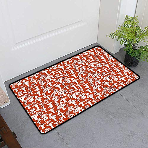 - TableCovers&Home Front Door Mat Carpet, Mushroom Non-Slip Rugs for Kids Room, Cute Amanita Pattern with Leaves Berries Poisonous Plants Cartoon Style (Burnt Sienna White, H32 x W48)