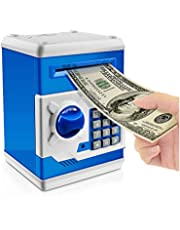 Jhua Cartoon Piggy Bank Password Electronic Money Bank Safe Saving Box ATM Bank Safe Locks Panda Smart Voice Prompt Money Piggy Box for Children/Christmas Gift (blue)