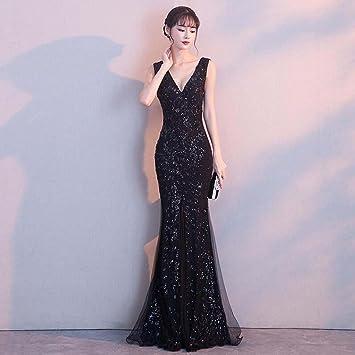 dd745304d Vestido de noche Hembra Banquete Noble Elegante Negro Sexy Larga Sección  Bifurcación Cola De Pescado Vestido Formal (Color   Negro