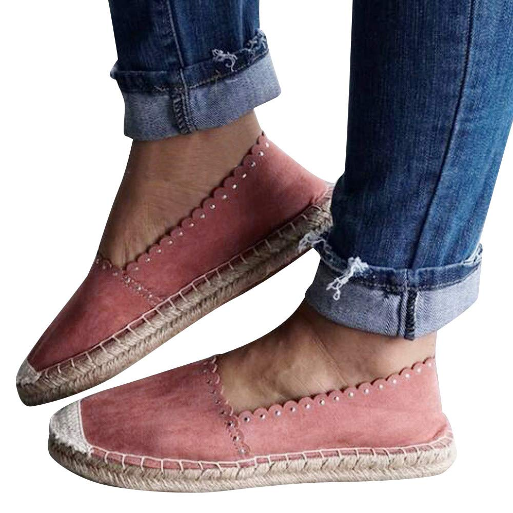 Women's Classic Casual Round Toe Flat Suede Straw Slip-On Rome Style Loafers (Pink, US:6.5)