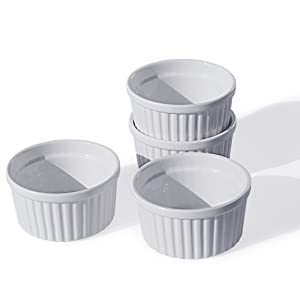 Cinf Porcelain Ramekin White 8 oz. Pudding Bowls Dishes Cup for Baking- Set of 4,Souffle Cups Dishes, Creme Brulee, Custard Cups, Desserts, Oven, Microwave, Freezer and Dishwasher Safe …