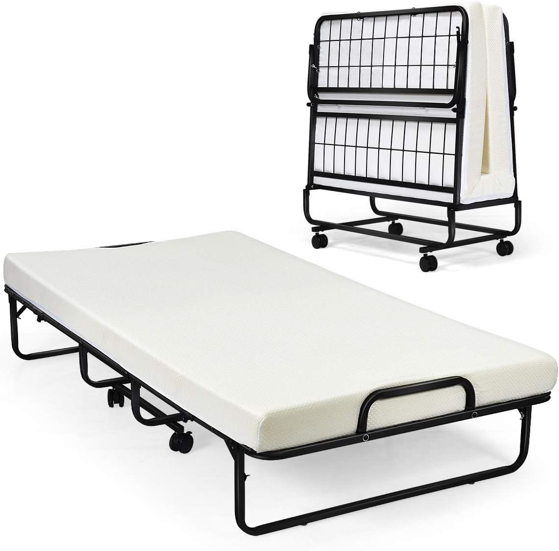 - Amazon.com: Giantex Metal Folding Bed With Mattress, Rollaway