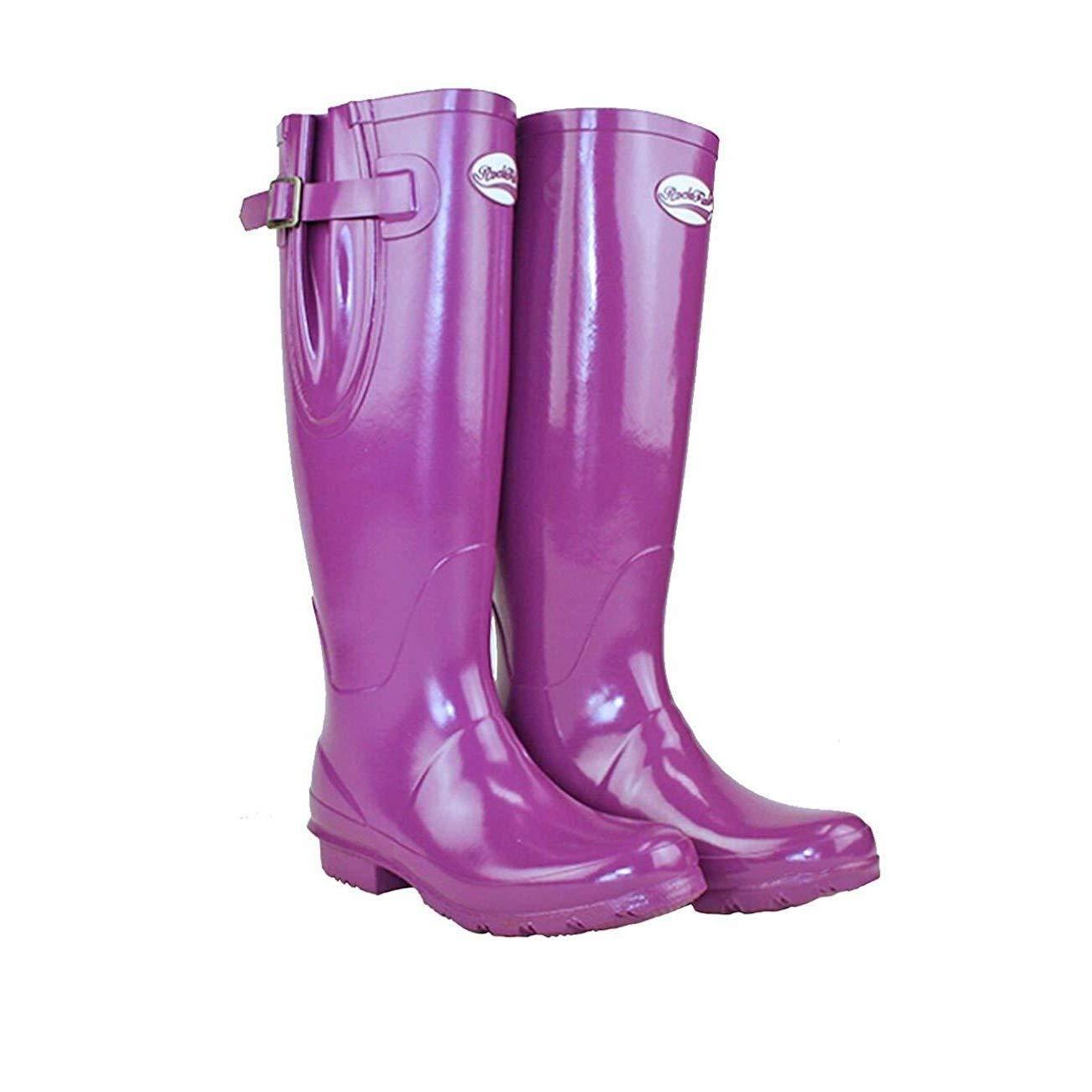 Rockfish Adj Gloss Tall Wellington Boot 7 Supaberry B01FW7SWX2