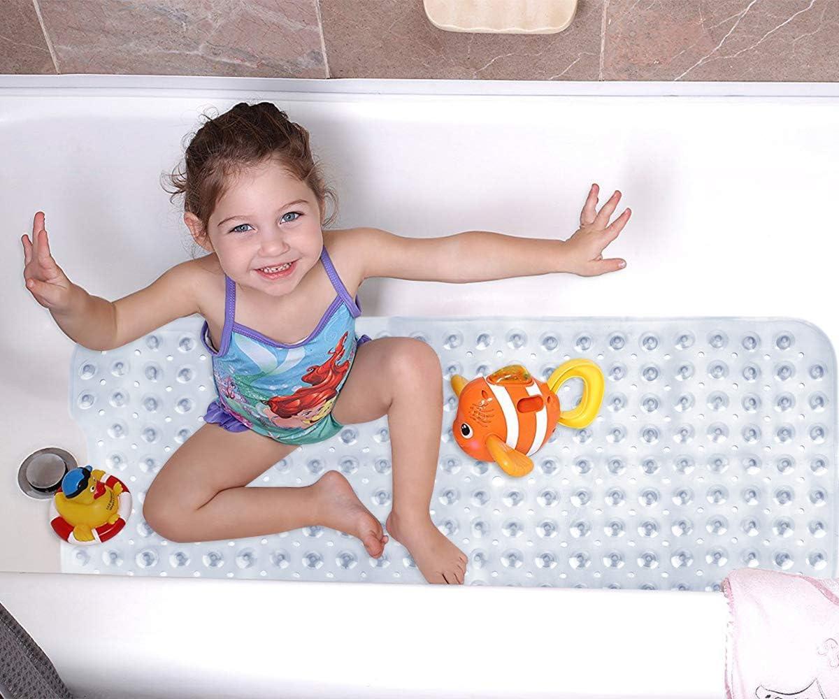 Clear Teal Grey 39 x 16inch Wimaha 2Pack XL Bathtub Mat Machine Washable Ideal for Kids Toddler Senior Bath Shower Mat Non Slip for Bathroom