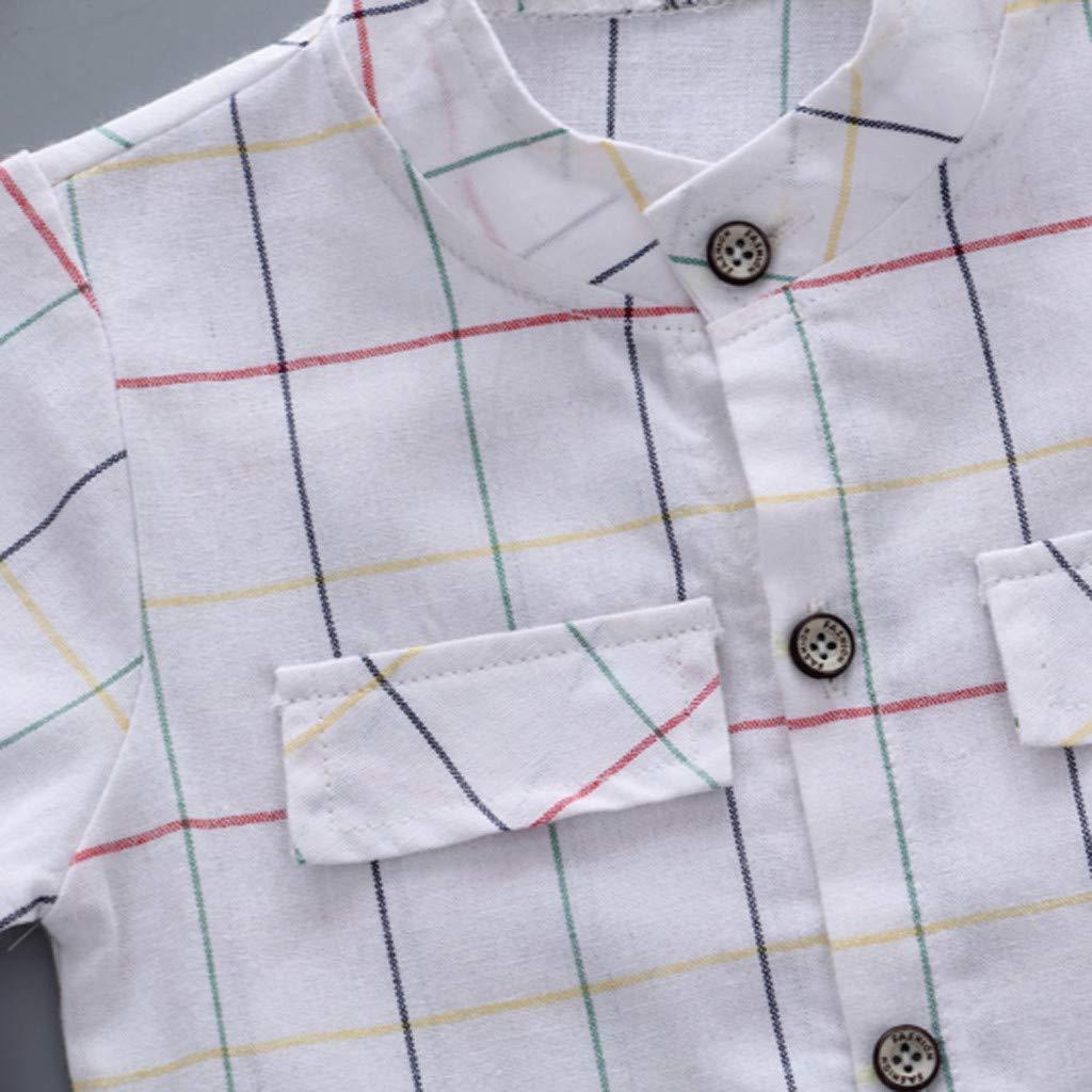 0M-2T Womola Toddler Baby Infant Boy Clothes Short Sleeve Plaid Shirt Top Shorts Set