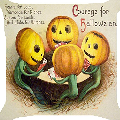 Funny Halloween Images (Cushion cover throw pillow case 18 inch retro vintage Halloween pumpkin lantern play poker card game funny image zipper)