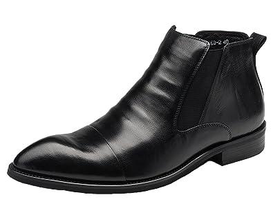 Amazon Com Chelsea Boots Men Leather Boots Formal Shoes Cap Toe