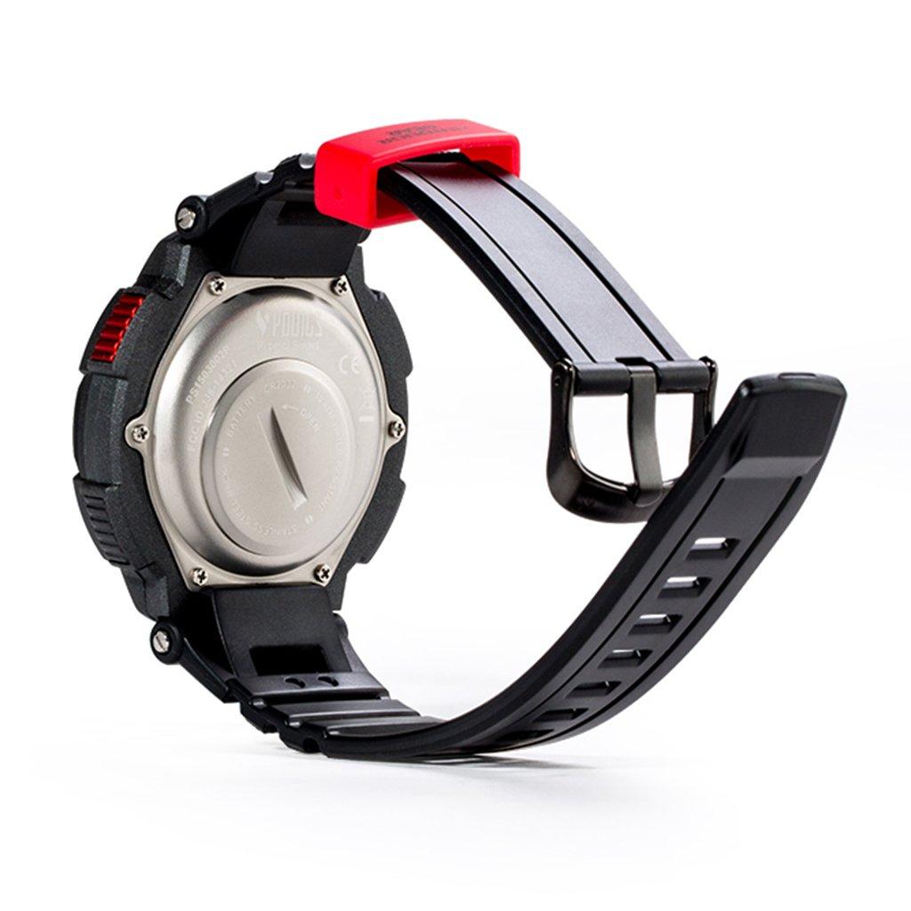 Youngs PS1503 - Smartwatch Deporte Reloj Electríco (Impermeable 100M, Compatible con Android iOS , Bluetooth, Alerta Inteligente, Despertador), Rojo