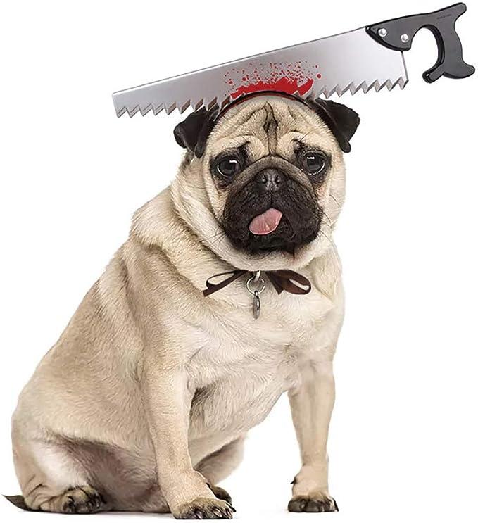 Honorall Acessórios para a cabeça do cão de estimação Machado viu tesoura adereços de terror Pet trajes de Halloween