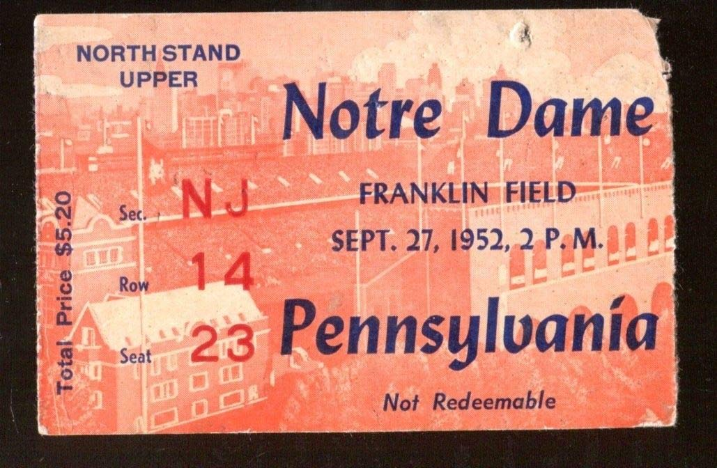 1952 Notre Dame v Penn Quakers Football Ticket 9/27 Franklin Field 43424
