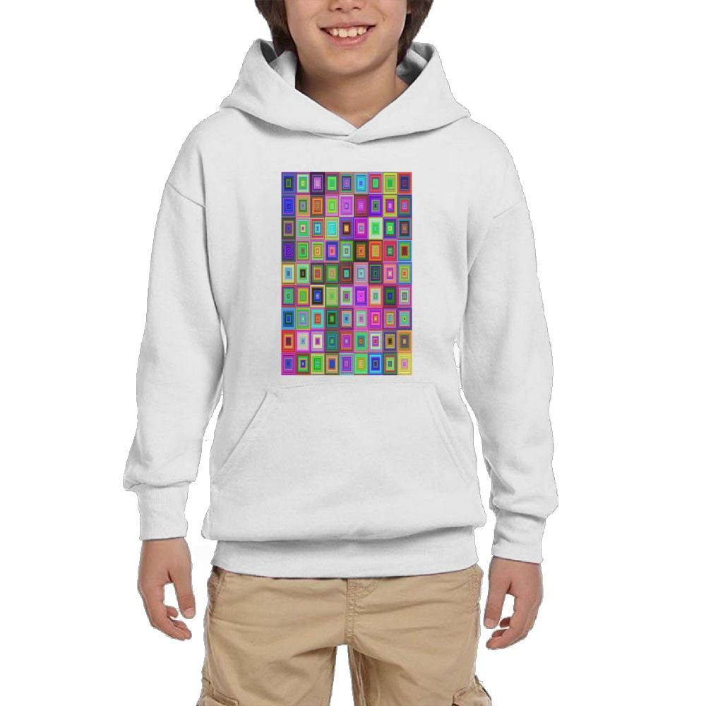 GLSEY Square Art colorful Design Youth Soft Pullovers Hooded Sweatshirts Long Sleeve