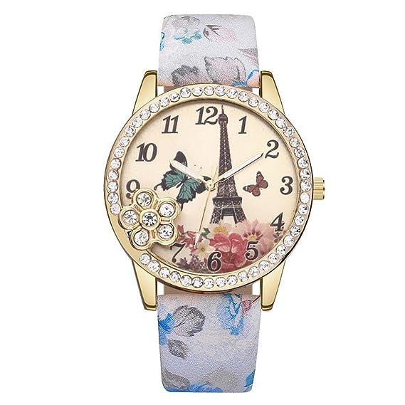 Wrist Watches for Women Teen Girls, Iuhan Fashion Eiffel Tower Leather Quartz Watch Women Casual