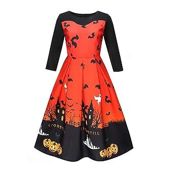 LONGRA mujeres Halloween Chic vestido manga larga cuello redondo ...