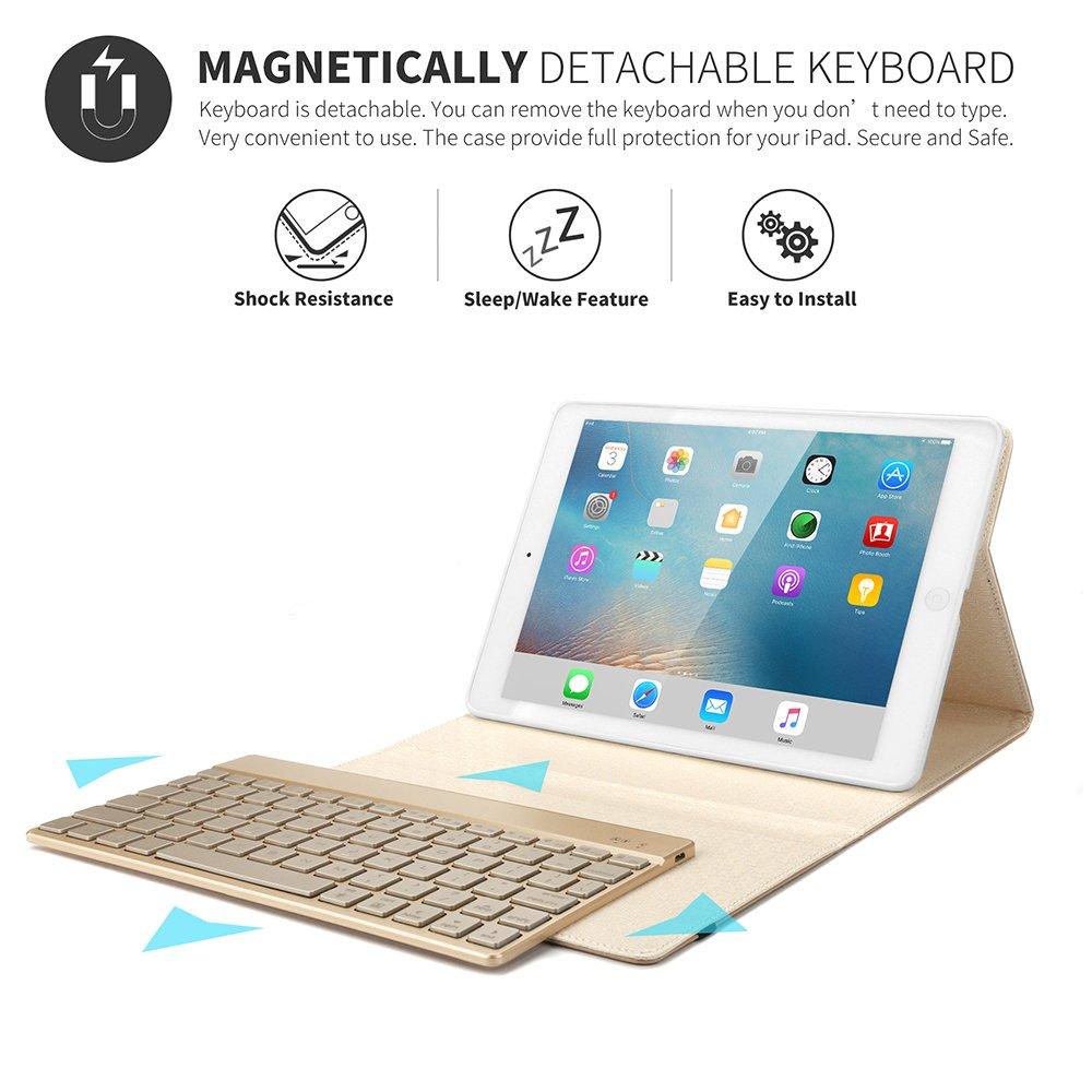 iPad Keyboard Case for iPad 2 /iPad 3 /iPad 4, KVAGO Protective Auto Sleep Wake Smart Cover with Removable 7 Colors Backlight Bluetooth Wireless Keyboard Case(Compatible with iPad 2/3/4), Black