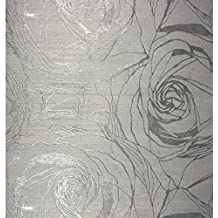 76 sq.ft Made in Italy Portofino textured platinum wallcoverings rolls modern embossed Vinyl Wallpaper silver gold gray metallic floral large roses flowers pattern wallpapers patterned wall washable