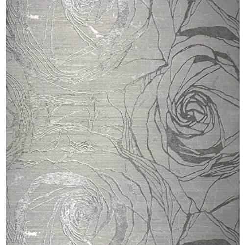 76 sq.ft Made in Italy Portofino textured platinum wallcoverings rolls modern embossed Vinyl Wallpaper silver gold gray metallic floral large roses flowers pattern wall paper coverings washable 3D