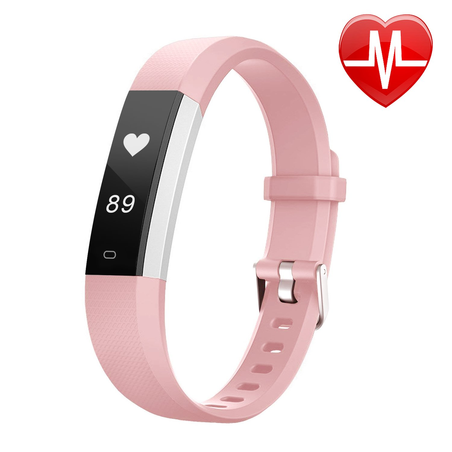 Letsfit Fitness Tracker HR, Sports Fitness Watch with Heart Rate Monitor and Sleep Monitor, Pedometer Watch, Step Counter, Bluetooth Smart Band for Kids Women and Men, pink