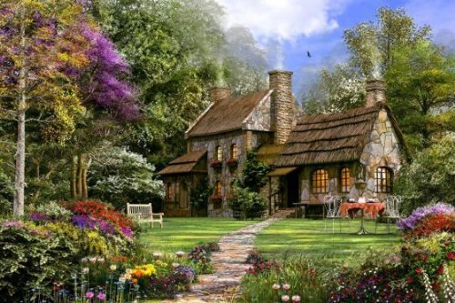 Old Flint Cottage 250 Piece Wooden Jigsaw Puzzle