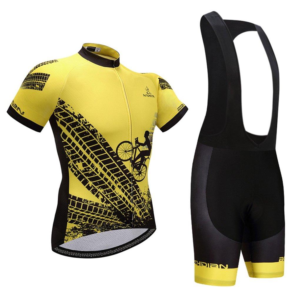 Uriah Men 's Cycling Jersey Short Sleeve Black Bib Shortsセット B0792TDDSG Riding Yellow Chest 43.3''=Tag XL