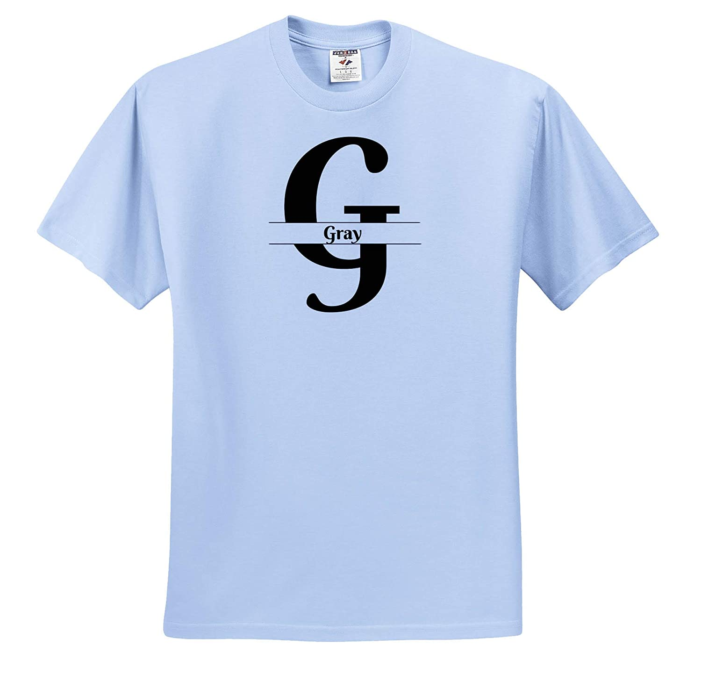 Bold Script Monogram G T-Shirts 3dRose BrooklynMeme Monograms Gray