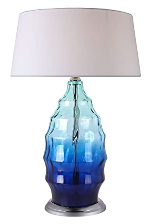 Lámpara de mesa con pie de cristal original azul - Design ...