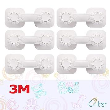 Cierre de Seguridad para bebé - Cerraduras de armarios Uiter para cajones y cocinas con Adhesivo Doble 3M Protección de Cierre Doble (Paquete de 6)