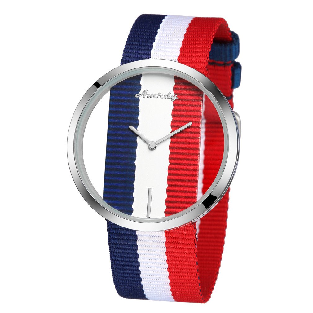 Minimalist Watches Quartz Wrist Watch with Adjustable Nylon Band Casual Watch Waterproof (Navy Blue/White/Red)