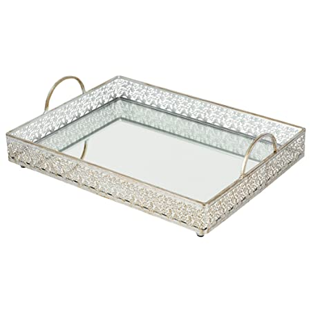Completely new Amazon.com: Giovanni Vintage Silver Mirror Serving Tray  EX66