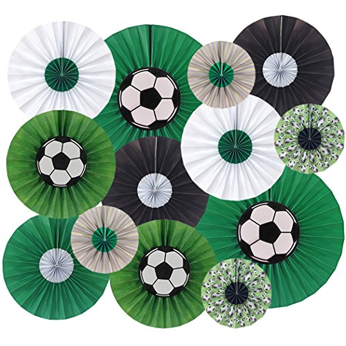 - Coxeer Soccer Party Fan, 13PCS Party Fan Soccer Themed Hanging Paper Fan for World Cup Party Decor