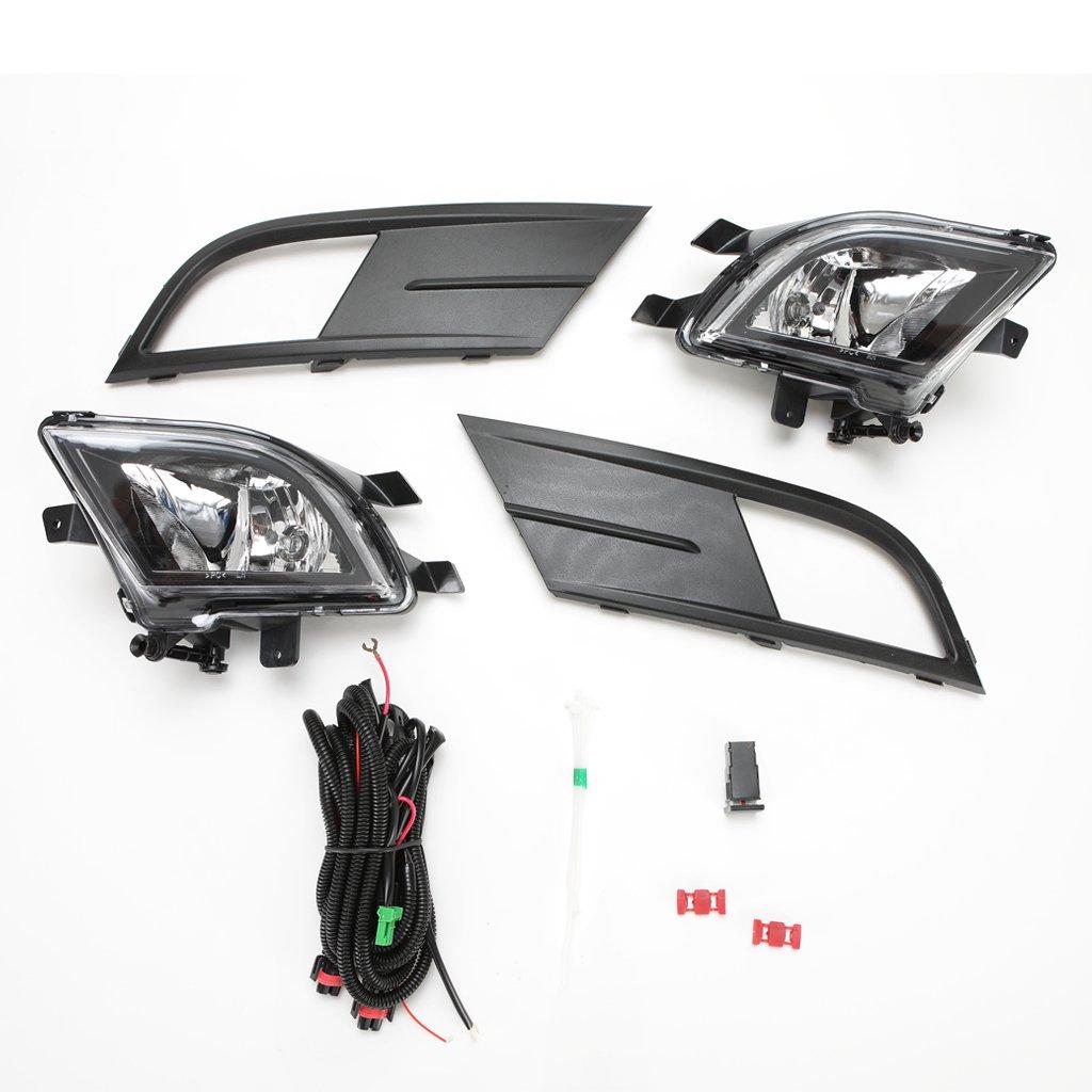 Bezel LEDIN for 2015 2016 2017 Volkswagen Jetta Clear Lens Fog Lights Set with Wire Harness Bulbs Switch