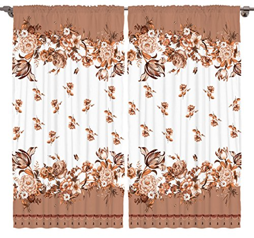 Roses Bouquet Tassle Hem Print Bedroom Living Room Dining Room Kids Youth Room Curtain Panels 2 Panel Set - Machine Washable Silky Satin Window Treatment, 108Wx84L, Beige Brown Camel White