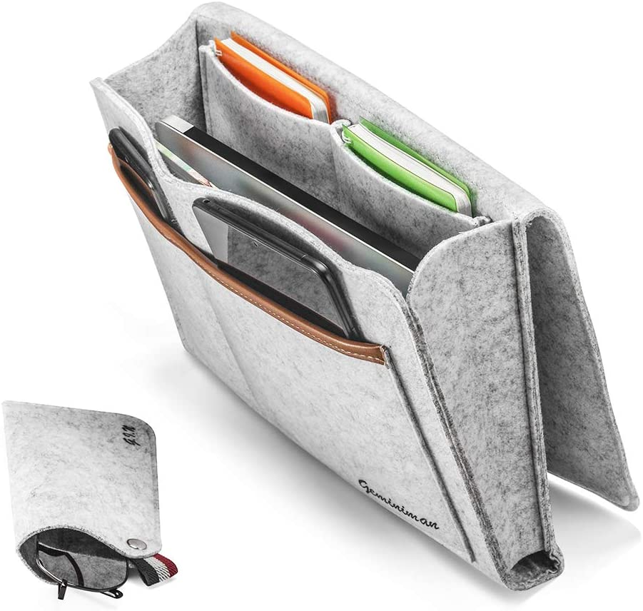 "Geminiman Bedside Caddy, Large Size 9.4"" x 13.4"" Inch Bedside Organizer Bag Holder with 5 Pockets,Felt Hanging Storage Organizer for Bed Rails,Dorm,Sofa,Bunk Beds"