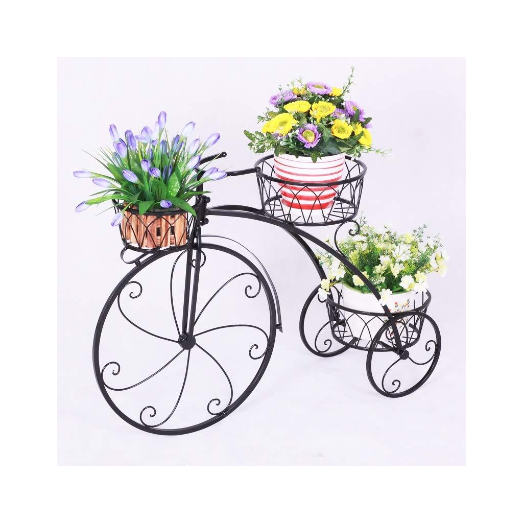 KANGSHENG園芸 ラック ヨーロッパの錬鉄の植物の立場、三輪車のスタイリングの花の立場屋内および屋外のフロアスタンドの花スタンド (Color : Black) B07SPSZYM7 Black