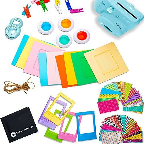 FujiFilm Instax Mini 9 Instant Camera + Fujifilm Instax Film (40 Sheets) + Deals Number ONE Accessories Bundle - Carrying Case, Color Filters, Photo Album, Stickers, Selfie Lens + More (ICE Blue)