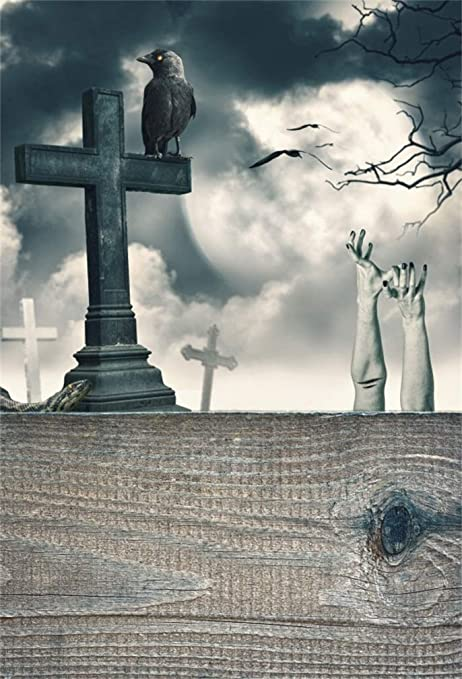Amazoncom Leyiyi 8x10ft Happy Halloween Backdrop Gothic Graveyard