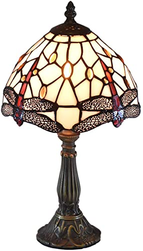 ATREUS Tiffany Style Lamps Dragonfly Desk Light 15 Inches Tall 8 Inches Wide Stained Glass Shade