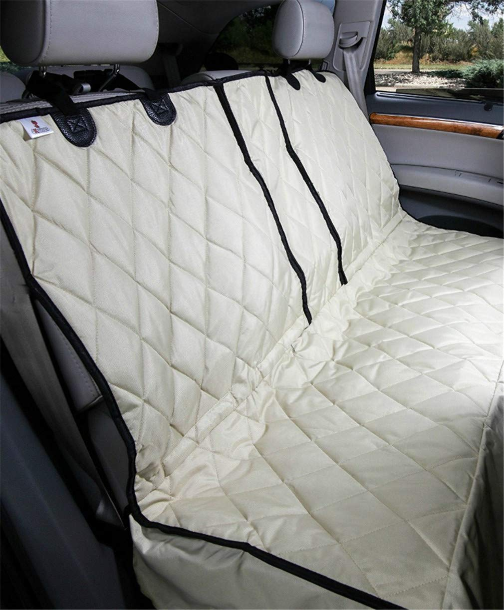 Beige Pet Car Mat Dog Car Rear Cushion Supplies Zipper Non-Slip Oxford Trunk Thick Anti-Pad Travelling Breathable Double Front Seat Booster Bag Carrier Seat Waterproof