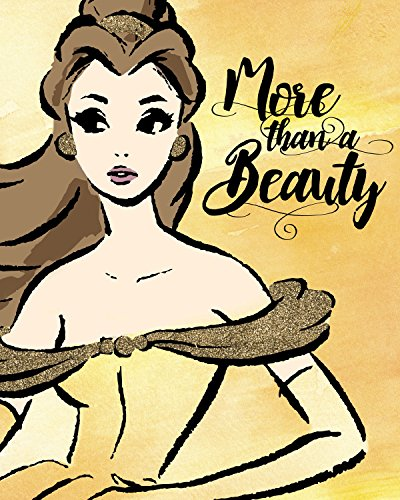 Belle Fashionista  Line Drawing Style Gold Glitter Embellished Canvas 16W x 20H x 1.25D Disney Princess Portrait