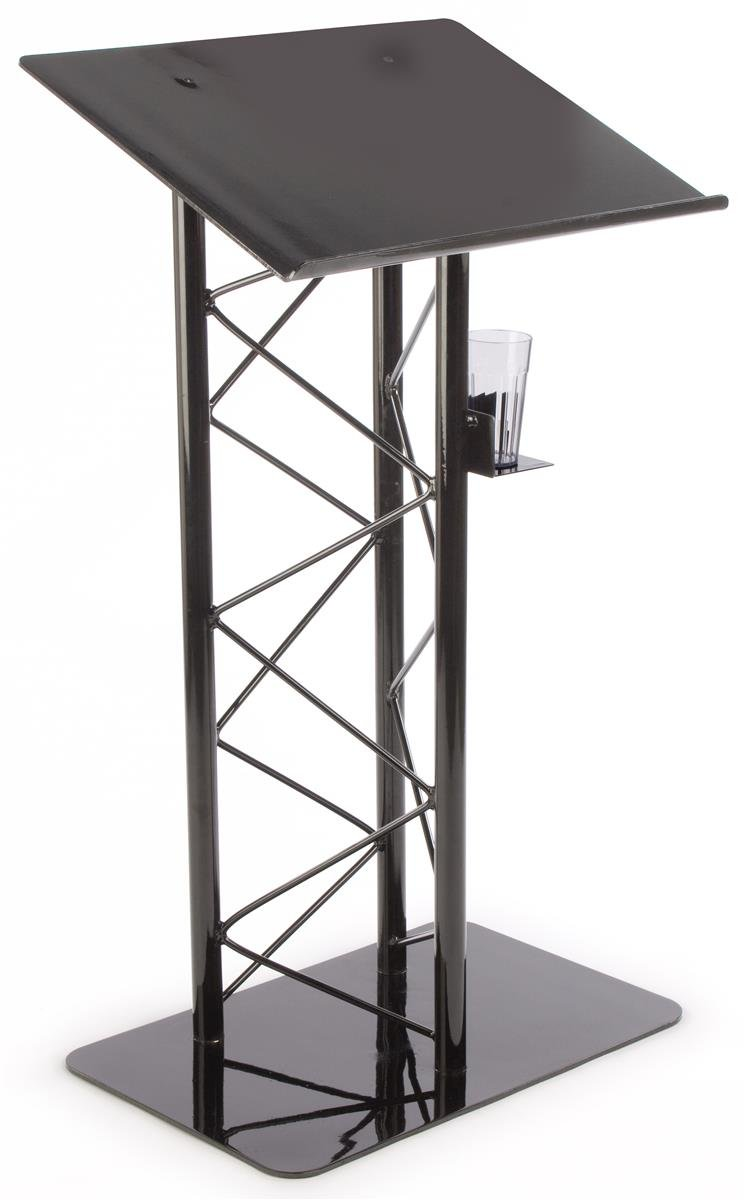 Displays2go Truss Lectern Podium Stand with Truss Design, Built-in Shelf, 27 x 48 x 18.5 Inches - Aluminum and Steel Construction, Black (LCTTRSBLK)